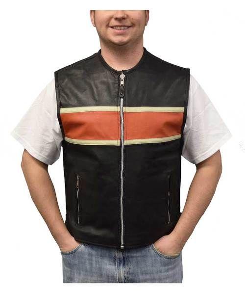 Free shipping - Redline Leather Men's Orange Stripe Leather Motorcycle Vest, Black M-3440 - Mens/Jackets & Vests/Vests - Collections/Milwaukee & Redline/Leather Vests
