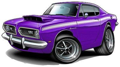 1967 69 Barracuda Muscle Car Cartoon Tshirt Free Hot Rod Art Work