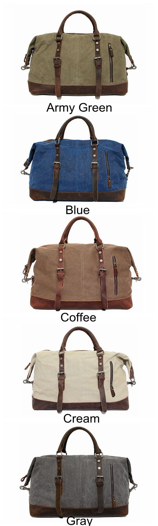 Image of Handmade Waxed Canvas Leather Travel Bag Dufulle Bag Holdall Luggage Weekender Bag 12031