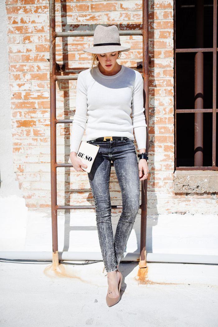 sweater - IRO; jeans - IRO Acid Wash; felted gray fedora - Rag & Bone; heels - Valentino; clutch - Jonathan Adler; belt - Hermes