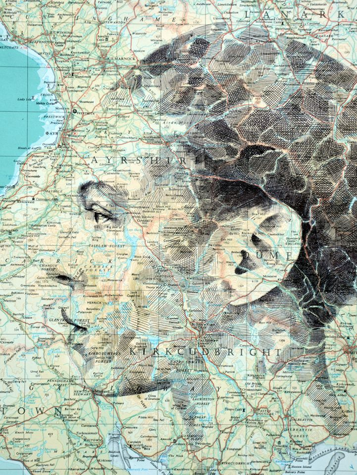 Seattle Map Funny%0A New Evocative Portraits Harmoniously Blend with Paper Maps