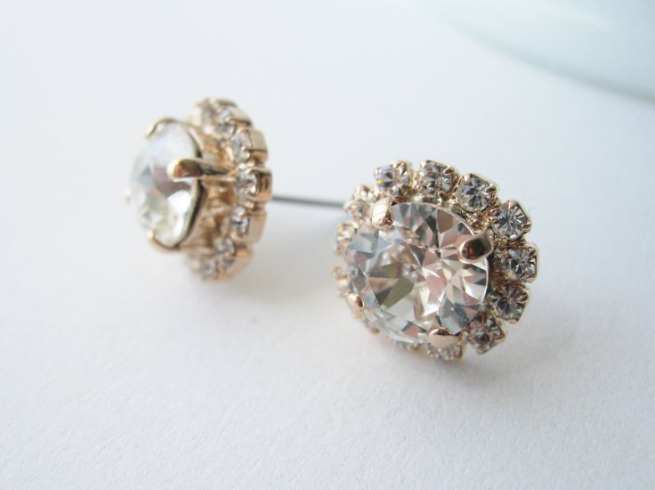 Rose Gold and Crystal Halo Stud Earrings with Swarovski Crystals Bridesmaid Jewelry Vintage Style Glamour Wedding