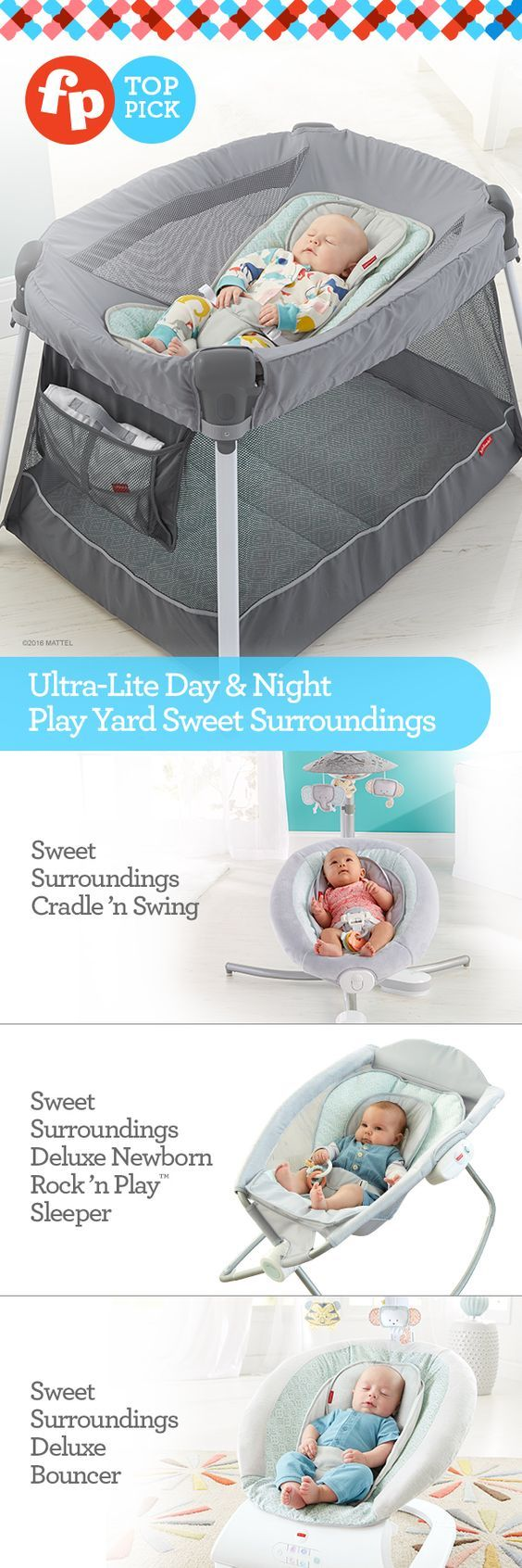 Surround baby in comfort and style with the Sweet Surroundings Collection. Take some weight off your shoulders with a portable play yard that's just half the weight of other popular play yards, with all the same great features, and more. At only 15 lbs., it's super lightweight and easy-peasy to pop up, take down and pack away in just a few quick, simple steps. The Ultra-Lite Day & Night Play Yard is a night saver – and a life saver.