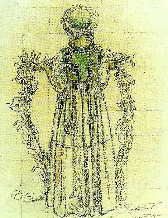 Carl Larsson:. flicka med blomstergirland -jenny med blomster girland.  (girl with GARLAND OF FLOWERS-jenny with flower garland)