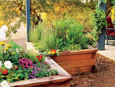 LOVE this idea. for right off the patio! illed with rich soil mix, these raised garden boxes provide the drainage herbs need. Click small drawing below to see the raised bed plan. | Sunset