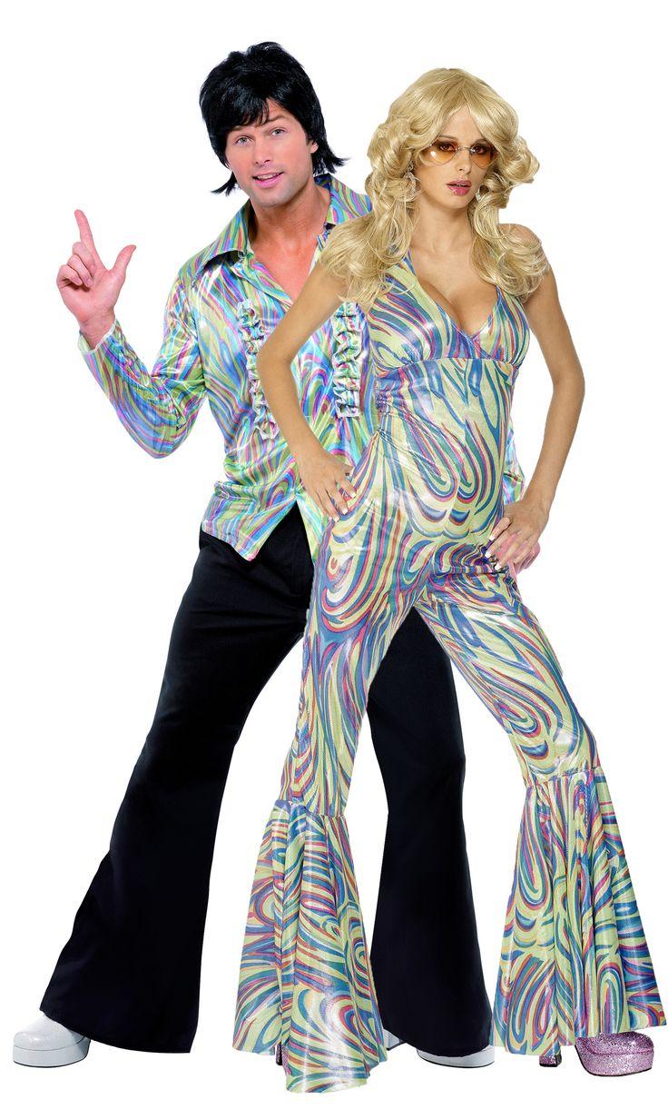 """Costume di coppia Anni '70 multicolore: questo travestimento di coppia """"disco"""", con la sua coloratissima fantasia psichedelica, garantirà il successo della vostra serata a Carnevale o per una festa a tema Anni '70! Scegli un costume di coppia per raddoppiare il divertimento e l'allegria!"""