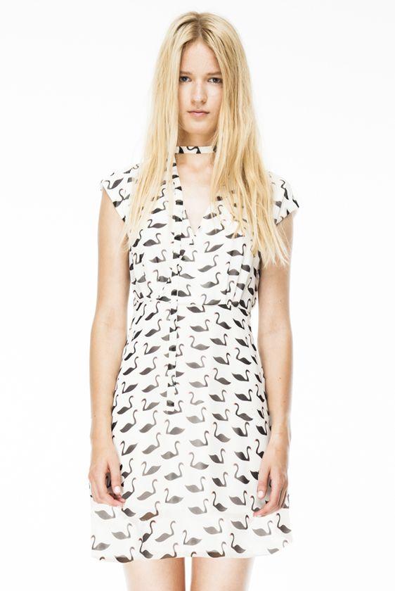 Vestido gasa estampado cisnes en blanco