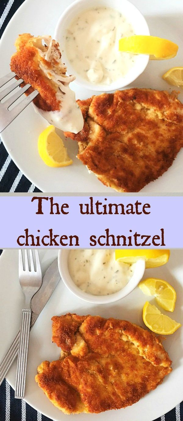 The ultimate chicken schnitzel, golden and crispy on the outside, and tender on the inside. The nicest and quickest chicken recipe. It goes really well with any salad, vegetables or mashed potatoes. A meal for the whole family.