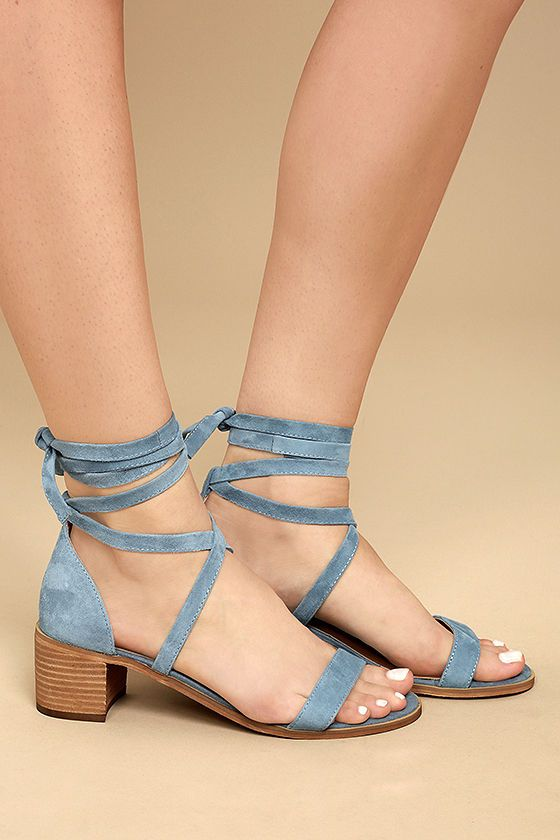 1054401f7c8 Steve Madden Rizzaa Light Blue Suede Leather Heeled Sandals