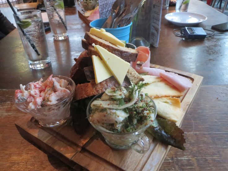 Smorgasbord at Hemma bar in the Canongate. A selection of smoked fish, cheese and meets with fresh crusty bread.