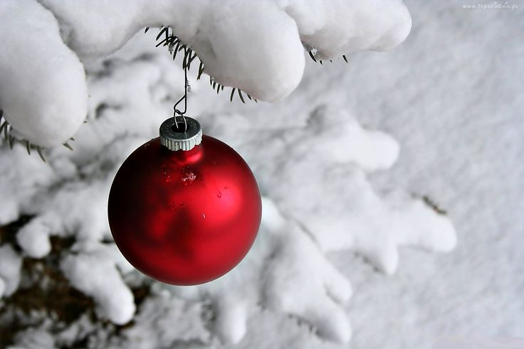 Zima, Śnieg, Bombka, Choinka