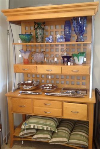 A contemporary Scandinavian Designs hutch reflects a old school bakers rack. Tons of display and serving surface.    Yesterdays Treasures Consignment  5829 Lone Tree Way Suite J  Antioch, CA 94531  925.233.4547  www.Yesterdayststore.com  Info@yesterdayststore.com