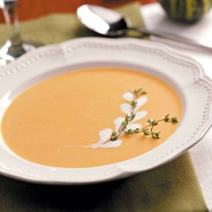 Gingered Pumpkin Bisque (chopped shallots, onion, fresh gingerroot, canola oil, all purpos flour [substitute cornstarch or arrowroot for GF!], chicken broth, apple cider or juice, pumpkin, maple syrup, dried thyme, ground cinnamon, pepper, ground cloves, heavy whipping cream or half-and-half, vanilla extract)
