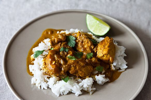 T U R M E R I C | Cheap Creamy Chicken Curry | FOOD52 | Sub in a healthy oil, COCNUT OIL.  Be liberal with the garlic and the turmeric.  Could sub in quinoa for rice - just keep gluten-free.