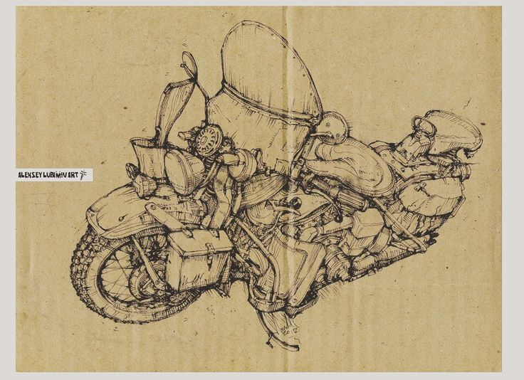 Author Aleksey Lubimov.Motorcycle #алексейлюбимовбиомеханика #алексейлюбимов #стимпанк #дизельпанк #биомеханика #marchofrobots #steampunk #dieselpunk #alekseylubimov_art #biomechanical #lineart #harleydavidson