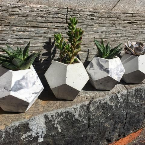 """Display your small fauna or air plant in this beautiful marbled dodecahedron planter!  Approximately 3.5"""" x 3.5""""  Made by Double L Decor in Toronto, Ontario.  Add a plant (for pick-up only)!  Because they are hand poured, slight variations are to be expected and admired. Each piece is sealed with a waterproof sealant."""