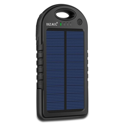 Solar Charger, Dizaul 5000mAh Portable Solar Power Bank Waterproof/Shockproof/Dustproof Dual USB Battery Bank for cell phone,iPhone,Samsung,Android phones,Windows phones,GoPro Camera,GPS and More