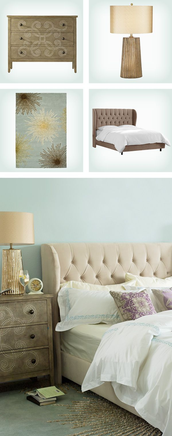 To create a serene master bedroom, try pairing an upholstered wingback bed with a down-filled duvet for a cozy, cloud-like bed. Then, add luxe accents like metallic bedside lamps and a plush patterned rug. Visit Wayfair and sign up today to get access to exclusive deals everyday up to 70% off. Free shipping on all orders over $49.