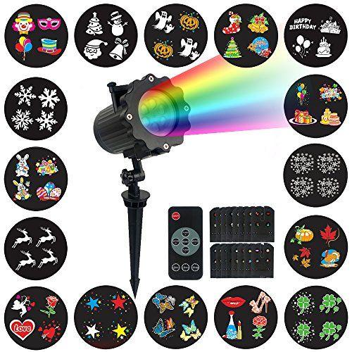 Projecteur Noël LED Extérieur Lampe Etanche avec 16 Motifs Animées ou Statiques et Télécommande RF, pour Utilisation Intérieure ou en Plein…