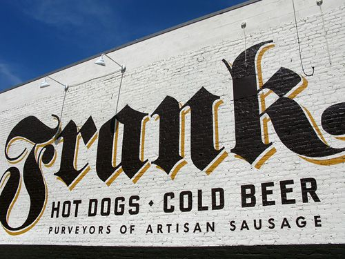 Frank - Austin, TX, warehouse dist.Hot dogs with a twist! Homemade sausage. Creative drinks. Live music.