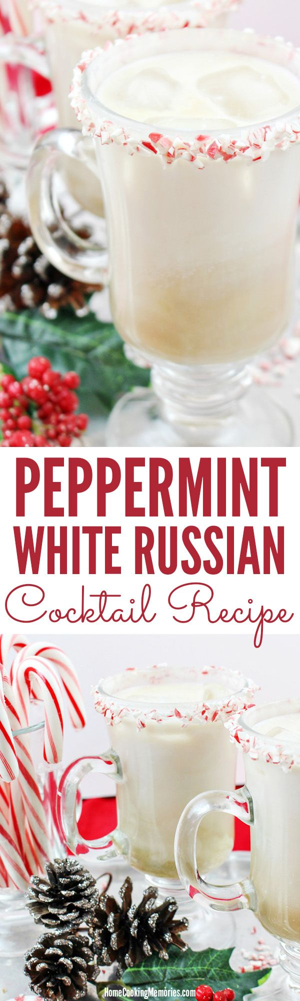 Festive Christmas cocktail recipe for adults! This Peppermint White Russian recipe uses peppermint vodka, coffee liqueur, and cream. Serve in a peppermint candy-rimmed glass. Great drink whether it's a cozy night for two or to serve guests at your holiday party.