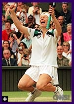 Jana Novotna wins 1998 Wimbledon over Nathalie Tauziat after losing twice before in 1993 and 1997.
