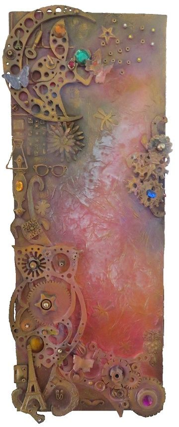 """Parisian Dreams, is a mixed media artwork, a steampunk on canvas creation by Chris Quinlan Irish artist. mixed-media on canvas design made from recycled and hand cut items. A 2"""" deep canvas - 30"""" x 10"""", Original artwork is available to purchase."""