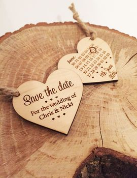 Save The Date Wooden Heart. I would out magnets on the back and they would be perfect!