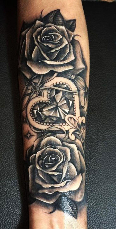 Black Rose Vintage Floral Flower Traditional Forearm Tattoo ideas for Women for Girls - Girly Crystal Heart Arm Tat - www.MyBodiArt.com
