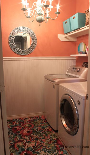 Laundry room. I have that mirror but with turquoise and green tiles! Didn't think about putting it in a laundry room...