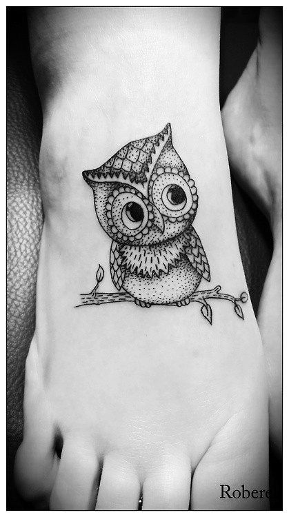 Cute owl foot tattoo, wonder how the owl would look sitting on an anchor instead of the branch