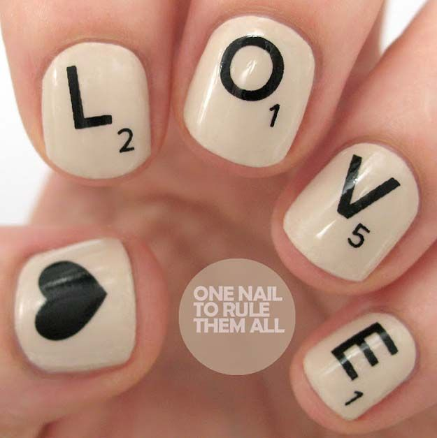 Valentine Nail Art Ideas - Scrabble Love Nails - Cute and Cool Looks For Valentines Day Nails - Hearts, Gradients, Red, Black and Pink Designs - Easy Ideas for DIY Manicures with Step by Step Tutorials - Fun Ideas for Teens, Teenagers and Women http://diyprojectsforteens.com/valentine-nail-art-ideas