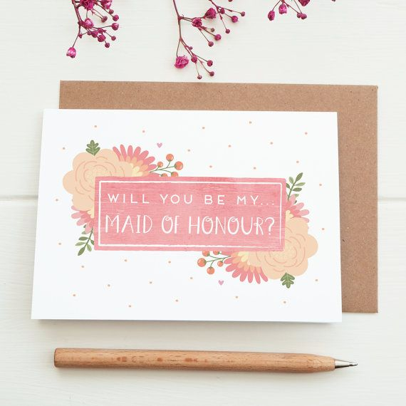 Will you be my Maid of Honour Card. Proposal card. by JoanneHawker