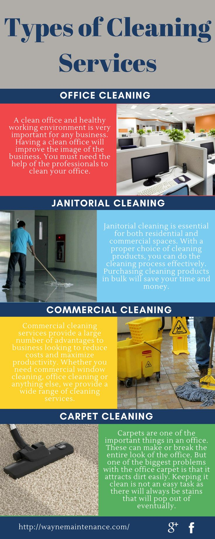 Wayne Professional Maintenance provides an extensive range of #cleaning #services in New Jersey. Our cleaning contractors are well experienced in providing quick cleaning in any emergency case. To know about different types of cleaning services, visit this infographics.