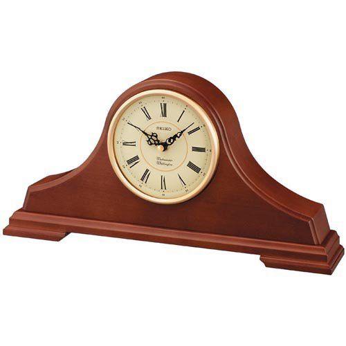 Seiko Medium Brown Oak Tambour Mantel Clock - QXJ008BLH