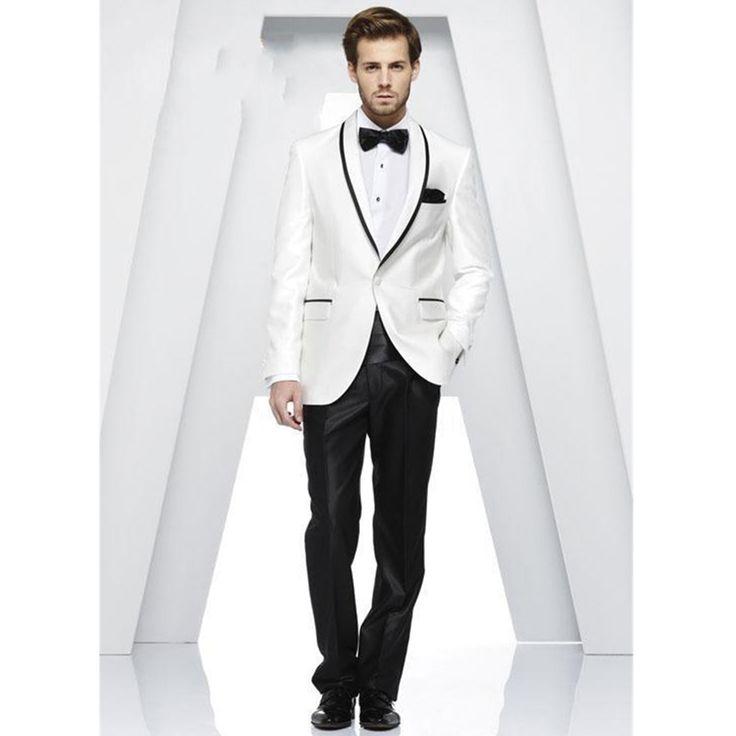 Белый черный костюм людей жениха свадьба формальные смокинги костюмы куртки брюки с бантом на заказ