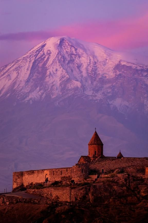 Mt. Ararat at sunrise. In the foreground Khor Virap monastery was built above a prison where Saint Gregory, the first missionary to Armenia, was imprisoned for 13 years. (Photo: 2003 Jon Warren/World Vision)