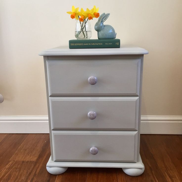 Grey chest of drawers, Bedside drawers, Bedside Table, Upcycled drawers, Painted drawers, Nursery Furniture, Nursery drawers, Gift for home by LittleWoodlandWorks on Etsy