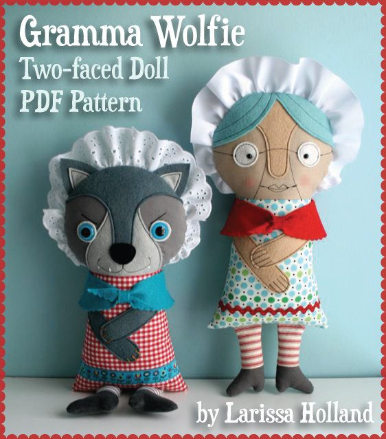 Gramma Wolfie Two-faced Doll PDF Pattern by mmmcrafts on Etsy