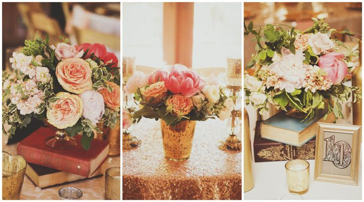 blush-wedding-flowers - beautiful #wedding #centerpieces #blushandgold #bookcenterpieces #roses #peonies #ambiencefloraldesign