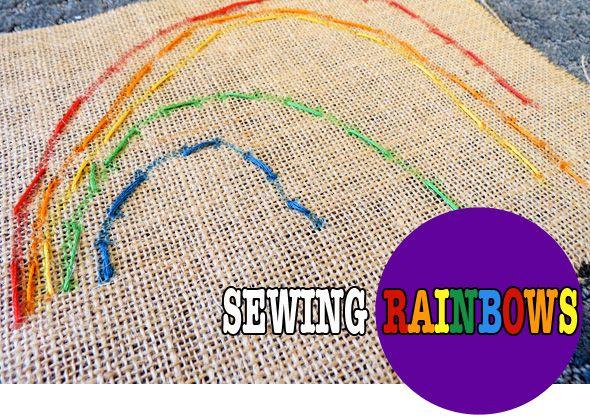 Sewing Rainbows: Sewing Projects, Kids Stuff, Kids Sewing, Kids Crafts, Fine Motors Skills, Fine Motors Activities, Sewing Rainbows, Posts Image, Simple Kids