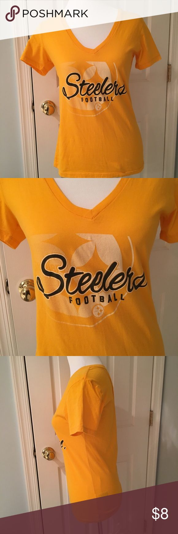 Steelers v-neck tee Steelers NFL team apparel tee shirt worn only a couple times. No pilling, stains, rips. NFL Team Apparel Tops Tees - Short Sleeve