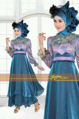 Model Baju Gamis Pesta Princess Biru Tosca Yang Elegan Dan