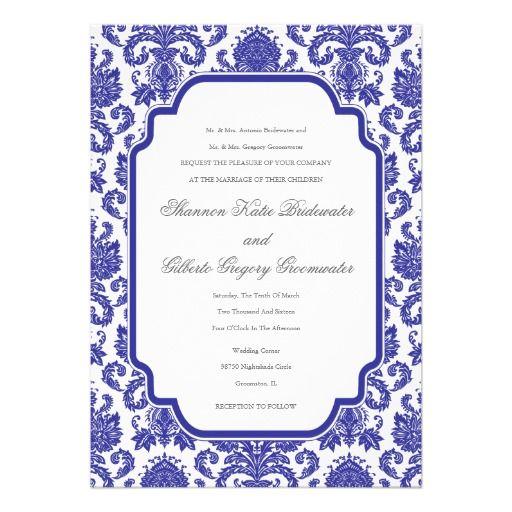 Purple Blue Wedding Designer Damask Template Invitation