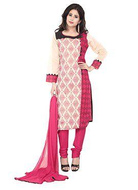 Cream N Pink Printed Churidar Suit