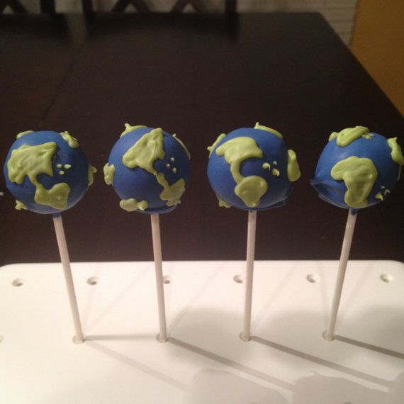 Planet Earth Cake Pops by TheCakeBallerina on Etsy