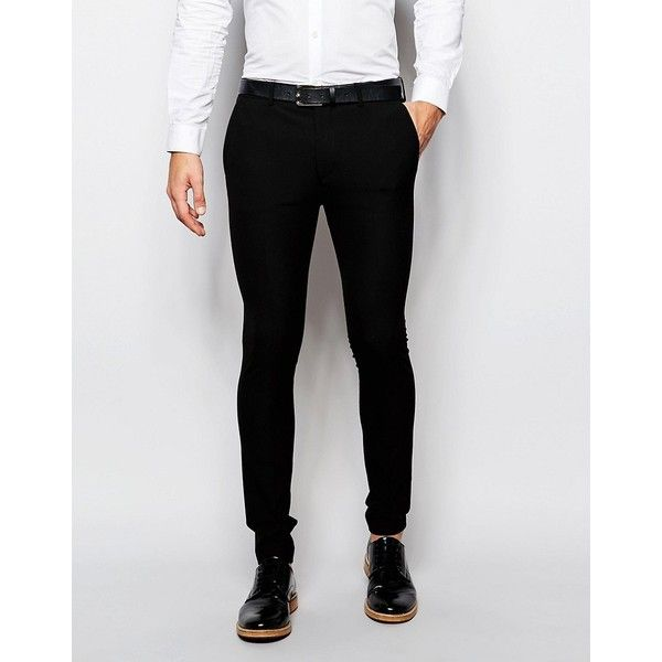 ASOS WEDDING Super Skinny Suit Trousers In Black (1.910 RUB) ❤ liked on Polyvore featuring men's fashion, men's clothing, men's pants, men's dress pants, black, mens stretch pants, mens skinny pants, mens polyester pants, mens zip off pants and tall mens pants
