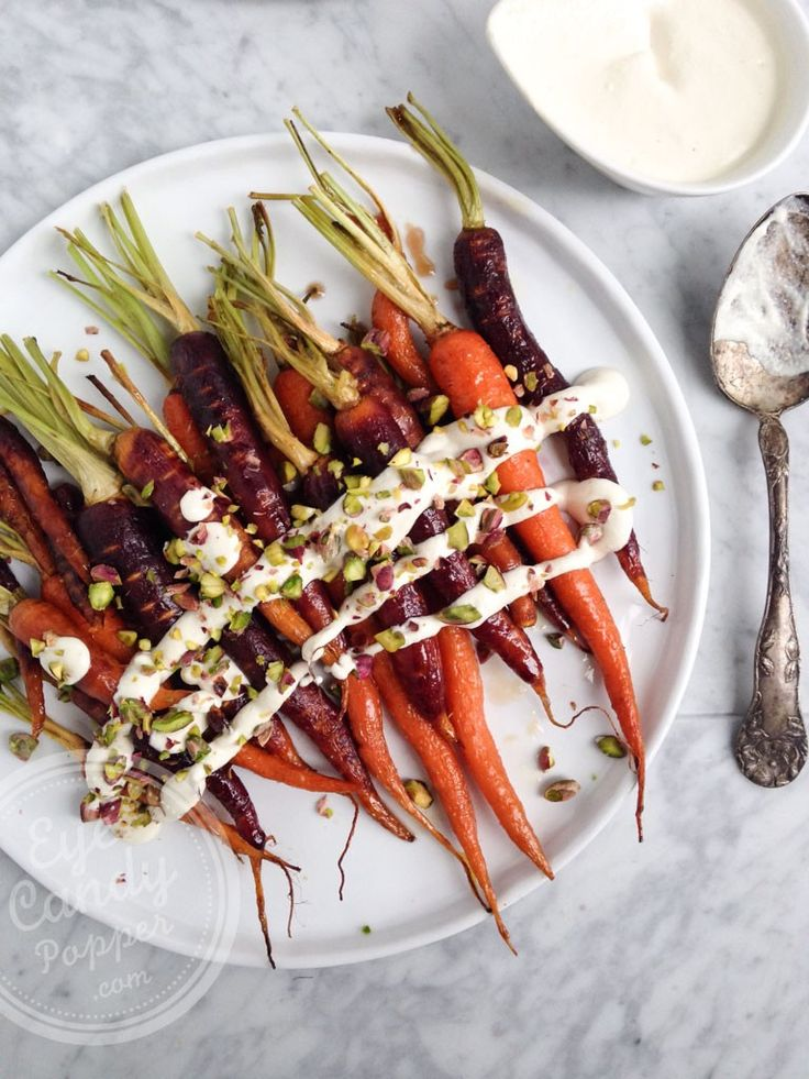 Maple roasted heirloom carrots with lemon cashew cream | eyecandypopper.com #healthy #vegan #recipe