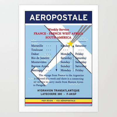 Aeropostale Mermoz Saint-Exupery Latecoere Art Print by Valtoria Decoration Vintage Posters - $24.96