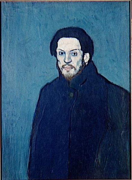 Pablo PICASSO  1881, Malaga (Espagne) - 1973, Mougins (Alpes-Maritimes)  Autoportrait fin 1901  Huile sur toile 81 x 60 cm